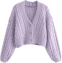 Purple Sharon Cable-Knit V-Neck Cardigan-Goodnight Macaroon