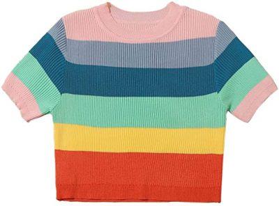 Rainbow Striped Rib Knit Crop Top-Romwe