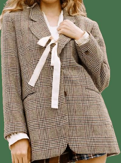 Recycled Check Wool Oversized Blazer-Urban Renewal