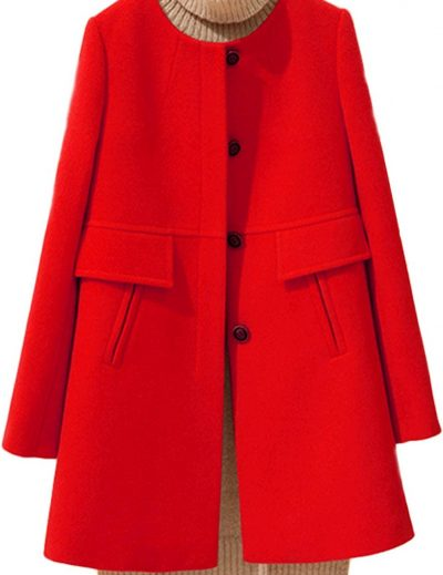 Red A-Line Collarless Single-Breasted Wool Coat