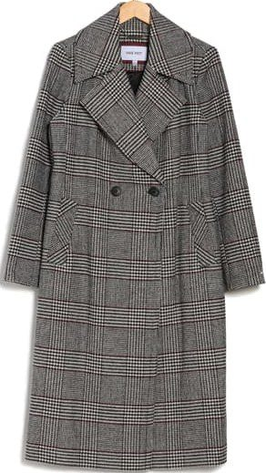 Red Check Double Breasted Long Wool Coat-Nine West