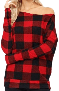 Red Checkered Sweater-Jersey Glam