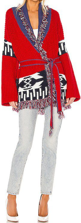 Red Combo Cheyenne Wrap Cardigan-John & Jenn by Line