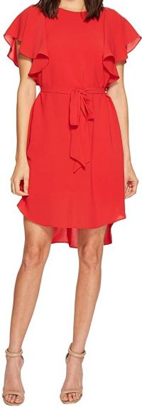 Red Fire Crepe Flutter Sleeve Dress-Adrianna Papell