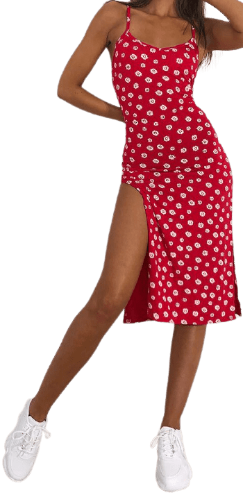 Red Floral Print Cami Midi Dress-Prettylittlething