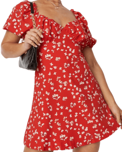Red Floral Print Milkmaid Skater Dress-Missguided