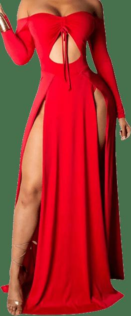 Red Off Shoulder Maxi Dress Long Sleeve Dress