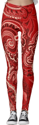 Red Paisley Leggings-Feeling Groovy