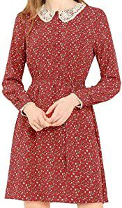 Red Peter Pan Collar Long Sleeve Floral Dress-Allegra