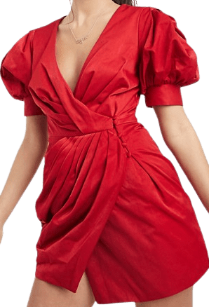Red Petite Structured Drape Wrap Mini Dress
