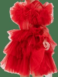 Red Ruffle Tulle Crew Neck Mini Dress