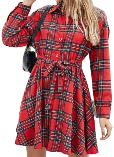 Red Tie Front Tartan Shirt Dress-Shein