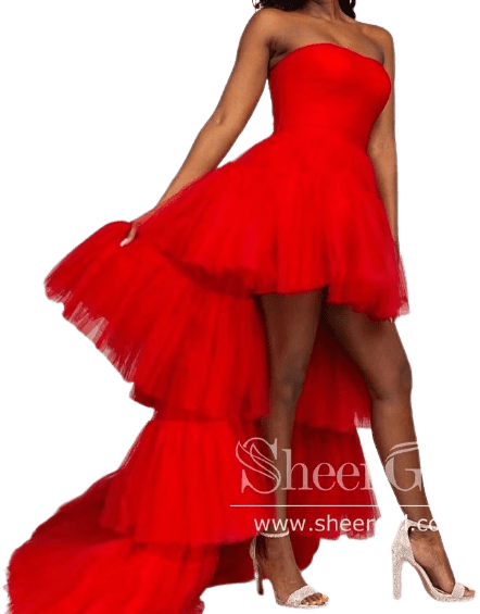 Red Tiered Tulle Gown-Sheergirl