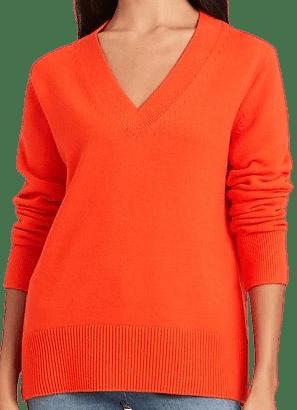 Rich Orange Relaxed Chunky V-Neck Sweater-Banana Republic