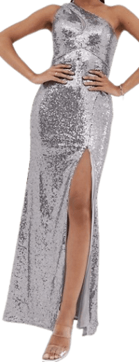 Silver One Shoulder Sequin Gown With Thigh Split-Bariano