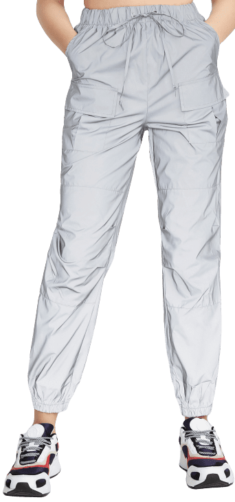 Silver Reflective Cargo Joggers-Twik