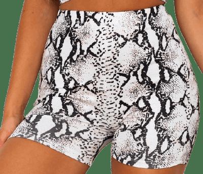 Snake Print Yin And Yang Bike Shorts-White Fox Boutique
