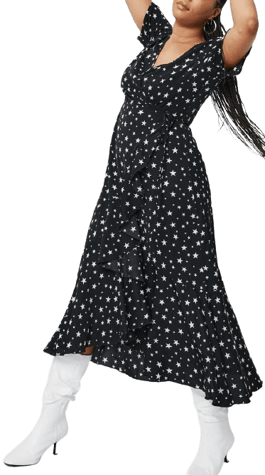 Star Print Wrap Maxi Dress-Nasty Gal
