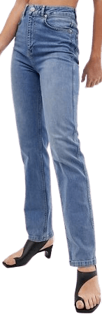 Stone Blue Farleigh High Waisted Straight Leg Jeans-Asos Design