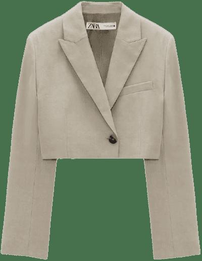 Stone Linen Blend Crop Blazer-Zara