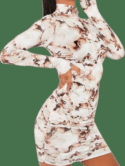 Stone Slinky Marble High-Neck Bodycon Dress