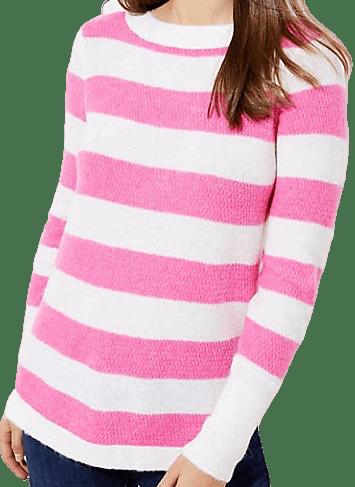 Stripe Textured Shirttail Sweater-Loft