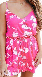 Surplice Hot Pink Floral Romper-Magnolia Boutique