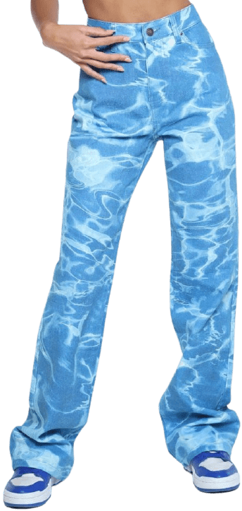 Swimming Pool Print Boyfriend Jeans-Jaded London