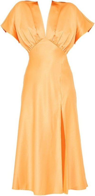 Tangerine Satin Plunge Split Detail Midi Dress-Prettylittlething
