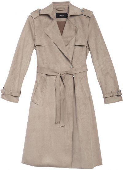 Taupe Faux Suede Mel Trench Coat