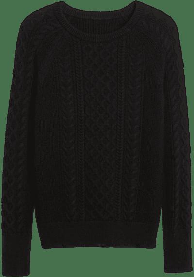 True Black Cable-Knit Crewneck Sweater-Gap