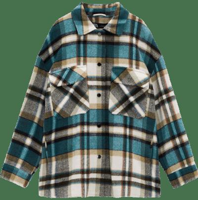 Turquoise Plaid Overshirt