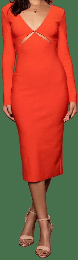 Ulla Long Sleeve Cut-Out Midi Dress