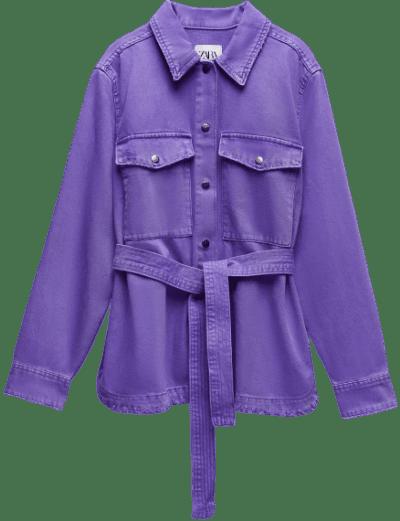 Violet Solid Color Denim Jacket
