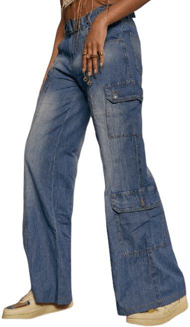 Washed Chambray Denim Skater Fit Cargo Jeans With Belt-Jaded London