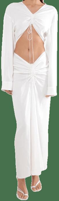 White Astrid Disconnect Shirt Dress-ALOTLABEL