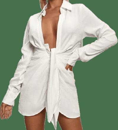 White Asymmetrical Hem Twist Shirt Dress