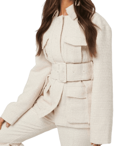 White Belted Tweed Jacket-NA-KD