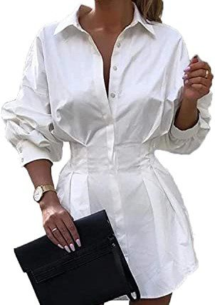 White Cinched Waist Mini Shirt Dress-Rozegaga