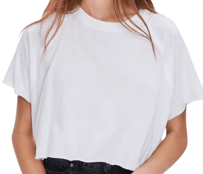 White Cropped Crew Tee-Forever 21