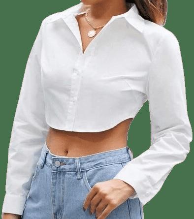 White Curved Hem Crop Blouse-Shein