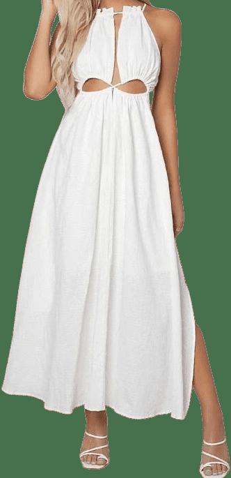 White Cutout Self-Tie Slit Maxi Dress-Shein
