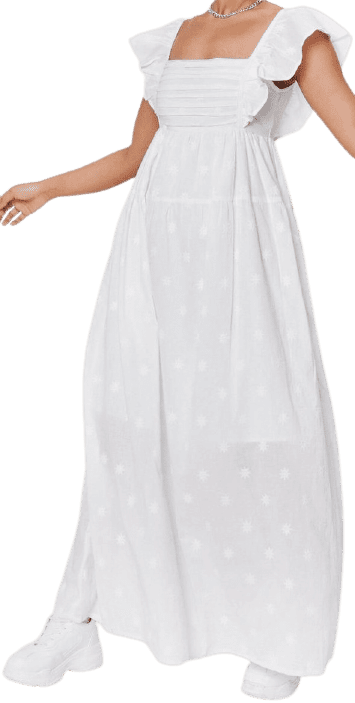 White Embroidered Pleated Maxi Smock Dress-Nasty Gal