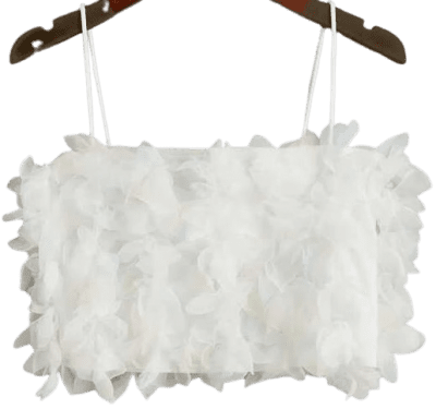 White Floral Applique Mesh Crop Top-Shein