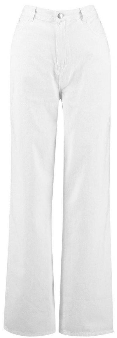 White High-Rise Rigid Wide-Leg Jeans