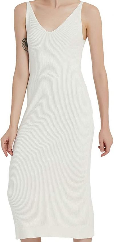 White Knit Midi Dress-RZIV