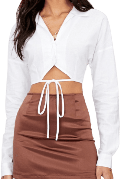 White Linen Blend Cropped Wrap Shirt-Glassons