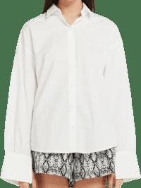 White Mia Slit Tie Back Shirt-Storets