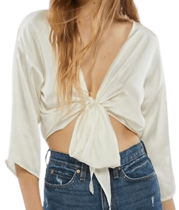 White Nicole Satin Tie-Front Top-Urban Outfitters