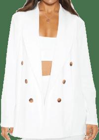 White Oversized Button Detail Blazer-Prettylittlething